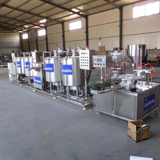 automatic filling machine in the yogurt ptoduction line