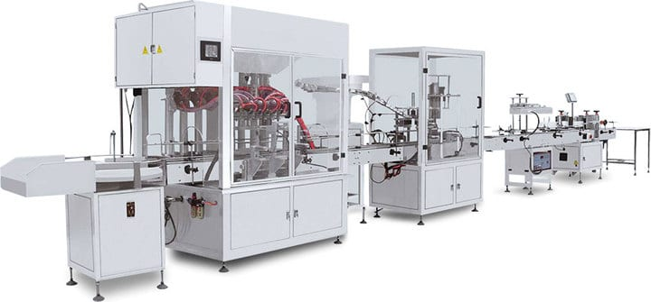 Automatic filling machine in the yogurt production line