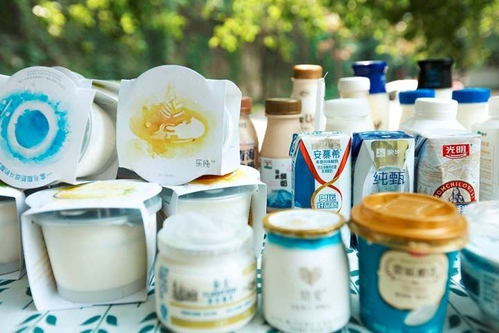 various packed yogurt in the market