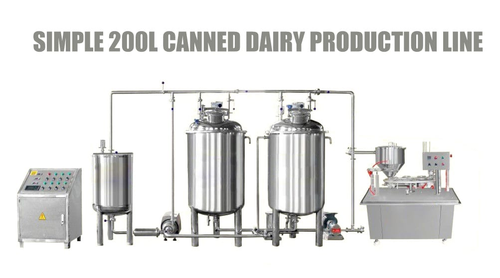 Simple 200l canned dairy productuon line